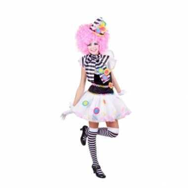 Zwart witte clown carnavalspaks voor dames