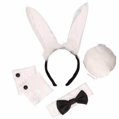 Zwart witte playboy bunny carnavalspak