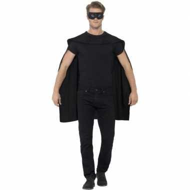 Zwarte cape met oogmasker verkleed carnavalspak voor volwassenen