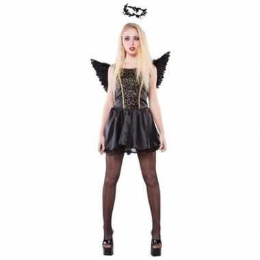 Zwarte engel dames carnavalspak