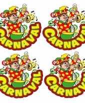 4x carnaval raamsticker muzikant met trompet 35 x 40 cm