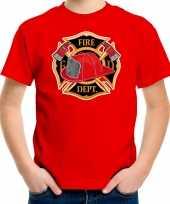 Brandweer logo t shirt carnavalspak rood voor kinderen