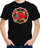 Brandweer logo t shirt carnavalspak zwart voor kinderen