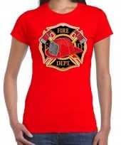 Brandweer logo verkleed t-shirt carnavalspak rood voor dames