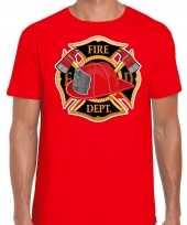 Brandweer logo verkleed t shirt carnavalspak rood voor heren