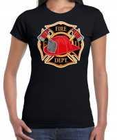 Brandweer logo verkleed t-shirt carnavalspak zwart voor dames