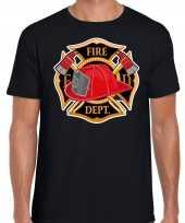 Brandweer logo verkleed t-shirt carnavalspak zwart voor heren