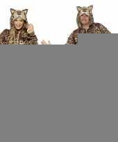 Carnavalspak luipaard all in one voor volwassenen