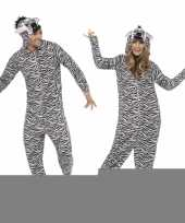 Carnavalspak zebra all in one voor volwassenen