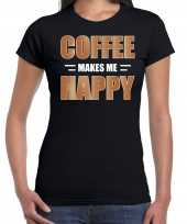Coffee makes me happy t-shirt carnavalspak zwart voor dames