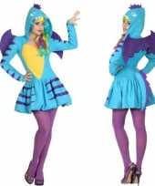 Dierenpak blauwe draak verkleed carnavalspak jurk voor dames