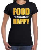 Food makes me happy t-shirt carnavalspak zwart voor dames