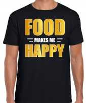 Food makes me happy t-shirt carnavalspak zwart voor heren