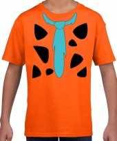 Fred holbewoner carnavalspak t-shirt oranje voor kinderen