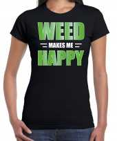 Weed makes me happy t-shirt carnavalspak zwart voor dames